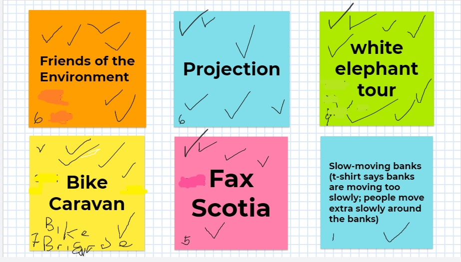 """Colorful squares with brainstorming ideas like """"projection"""" and """"white elephant tour""""."""